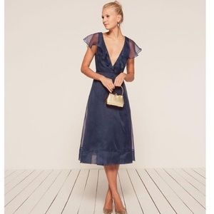 Reformation Cannes Dress in Sapphire Blue S M L